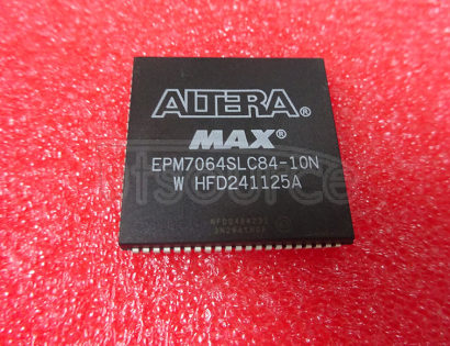 EPM7064SLC84-10N CPLD. MAX 7000, 64 MACROCELLS, PLCC84<br/> Logic IC family:CPLD EPLD<br/> Logic IC Base Number:7064<br/> Logic IC function:EPM7064S<br/> Voltage, supply:5V<br/> Case style:PLCC<br/> Gates, No. of:1250<br/> I/O lines, No. of:68<br/> Macrocells, No. of:64<br/> Pins, RoHS Compliant: Yes