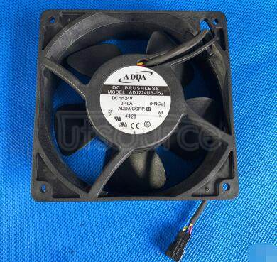 AD1224UB-F52 AXIAL FAN, 120MM, 24VDC, 122CFM, 48DBA,  Product Range:-,  Supply Voltage:24VDC,  Fan Frame Size:120mm,  External Depth:38mm,  Flow Rate - Imperial:122cu.ft/min,  Flow Rate - Metric:3.454m /min,  Noise Rating:48dBA,  Bearing Type:Ball , RoHS Compliant: Yes
