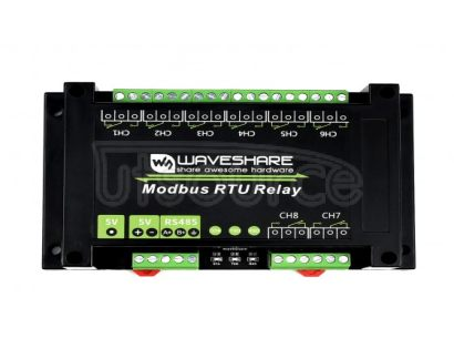 Industrial Modbus RTU 8-ch Relay Module, RS485 Bus, Multi Protection