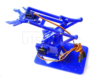 Manipulator mechanical arm DIY loose piece UNO learning kit acrylic guest set single claw rudderless gear (single manipulator arm without rudder blue)