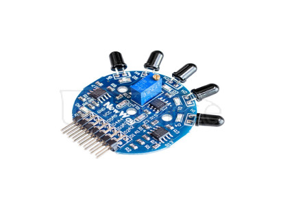 Five-way flame sensor module analog and digital double output fire extinguishing robot This product is capable of detecting the short wave near infrared (SW-NIR) emitted by the flame with a band range of 700-1100 nm respectively, and output through an electrical signal (voltage signal).