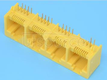 RJ451*4PORT plastic yellow 4 network port socket 8P8C four sockets RJ45 socket opening upwards (4pcs)
